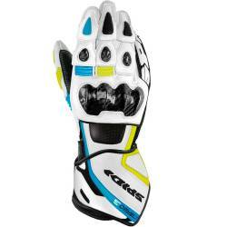 GUANTES SPIDI CARBO 3 LEATHER BLANCO/AZUL/FLUOR