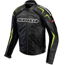 CHAQUETA SPIDI TRACK LEATHER JACKET NEGRO/VERDE FLUOR